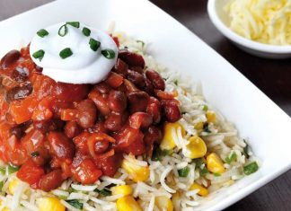 Rice with corn, rajma and cream, salsa sauce
