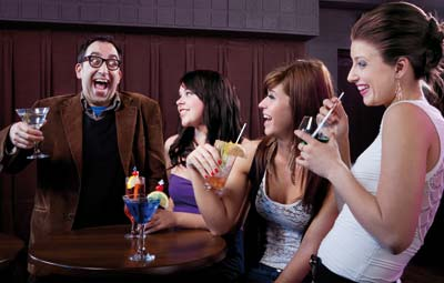 Man with girl friends having a great chat