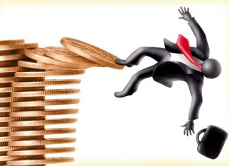 Illustration of a man falling from the coins kept one above the other / how to ruin your financial life