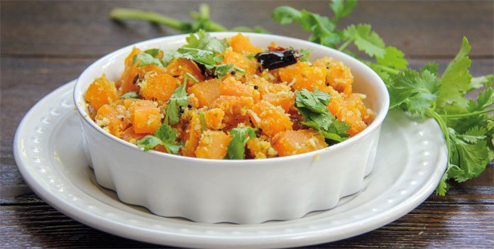 Pumpkin with coconut, indian dish