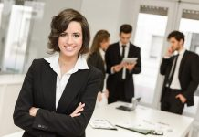 Confident working woman executive in an office