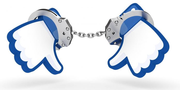 illustration of handcuffs aroud facebook like icons - addicted to Facebook
