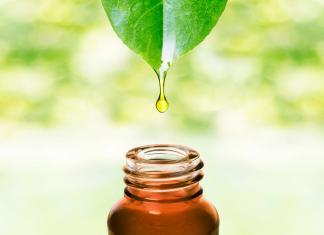 Essential oil from leaf drop falling in bottle