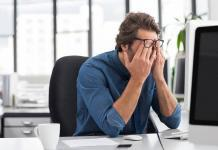 Stressed man at work / mindfulness concept