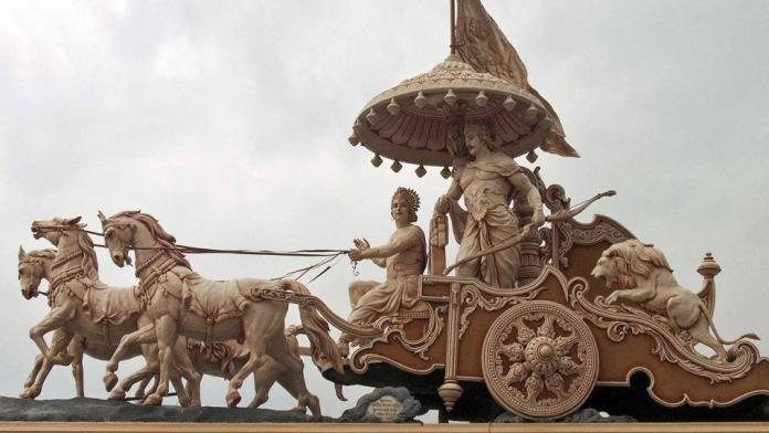 Krishna and Arjuna on the chariot - Bhagavad Gita