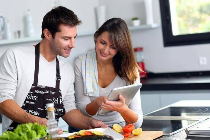 Couple preparing diabetes safe meals in the kitchen