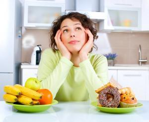 woman choosing food, healthy and junk refined foods
