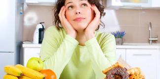 woman choosing food, healthy and junk refined foods