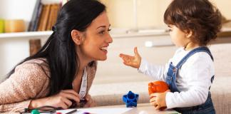 Mother daughter playing with toys, play