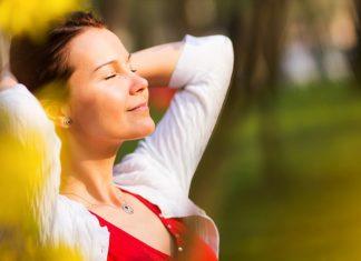 woman relaxing happy