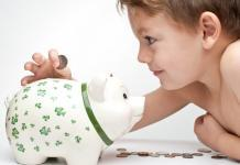 child putting coin in the piggy bank