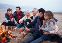 bonfire with family, family vacation