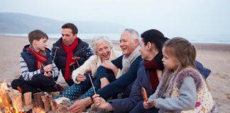 bonfire with family, family vacation