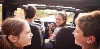 family in car, road trip