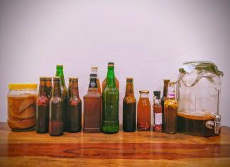 bottles of kombucha, fermented tea