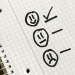 Checklist of life choices - happiness, indifference or sadness