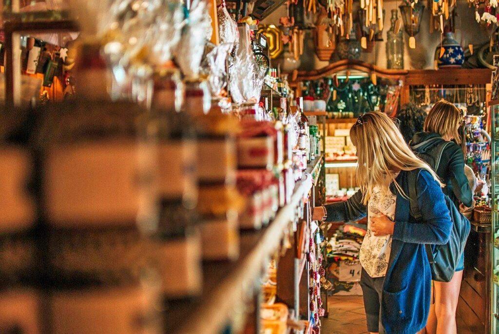 Woman shopping in a souvenir store