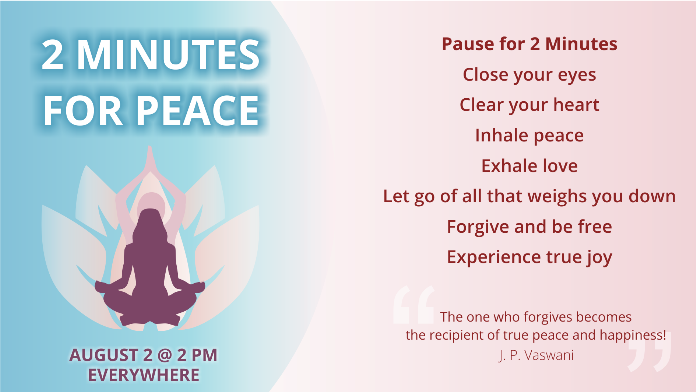 August 2nd at 2pm is Moment of calm | Dada J P Vaswani Birthday